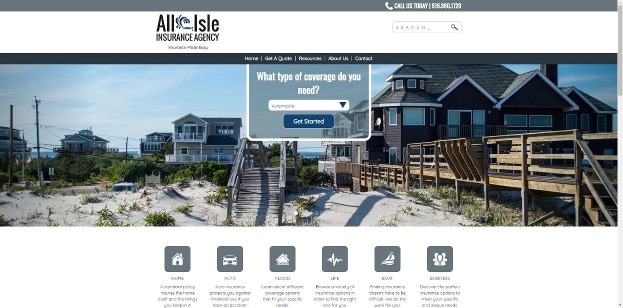 All Isle Insurance Website Screenshot