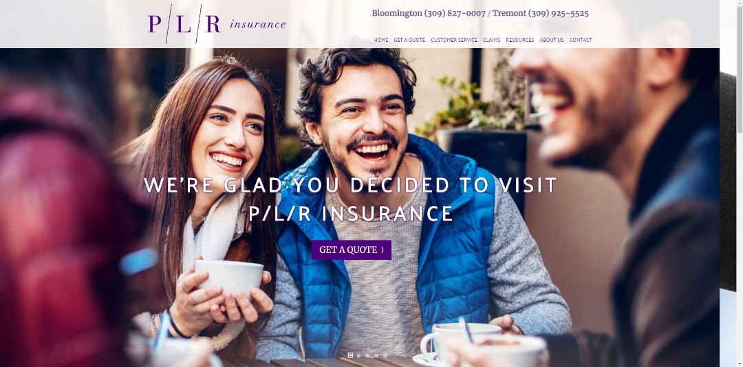 PLR Insurance website screenshot