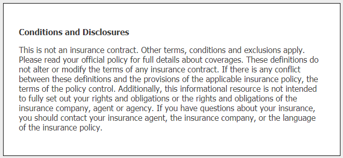 Sample conditions and disclosures