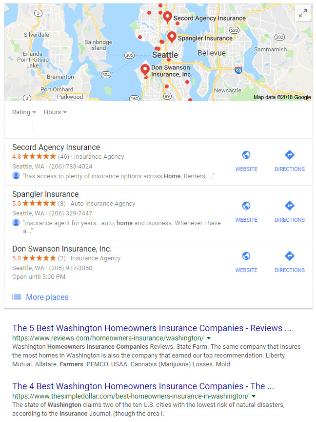Google Map Pack Seattle Insurance Agencies