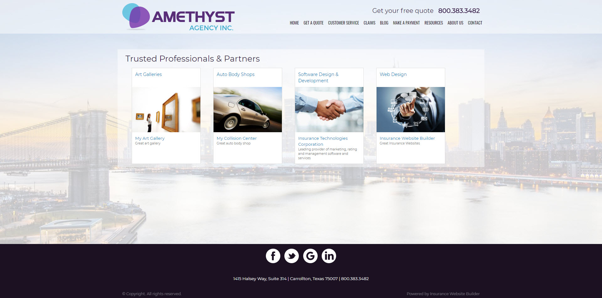Amethyst partner page screenshot
