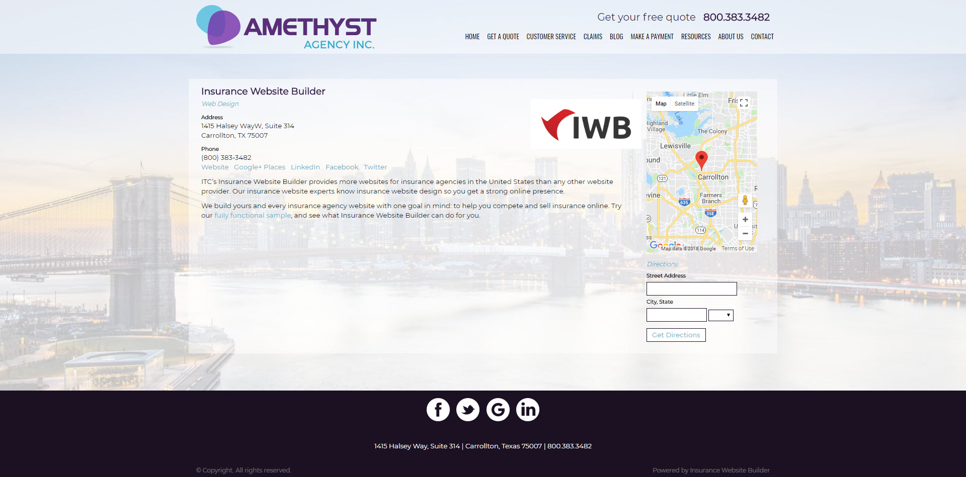 amethyst partner page screenshot insurance website builder