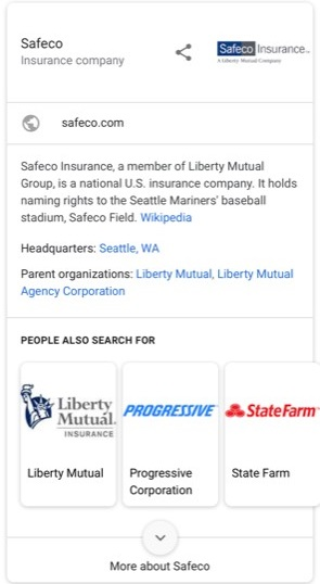 Safeco google info box mobile