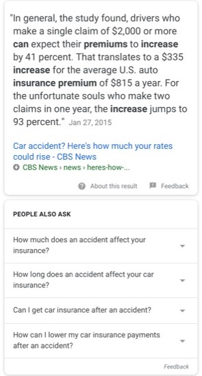 Google answer box mobile