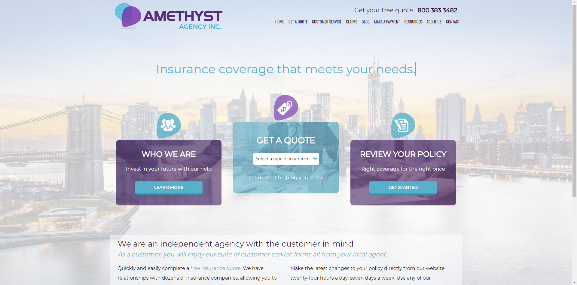 amethyst insurance website design