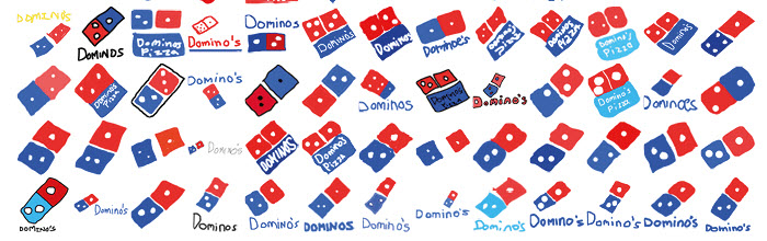 Dominos hand drawn logos from signs.com