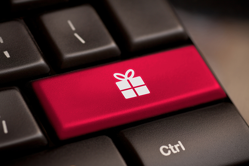 keyboard with red present button