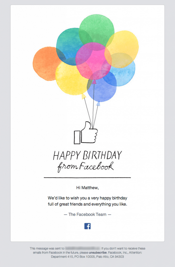 Facebook email birthday