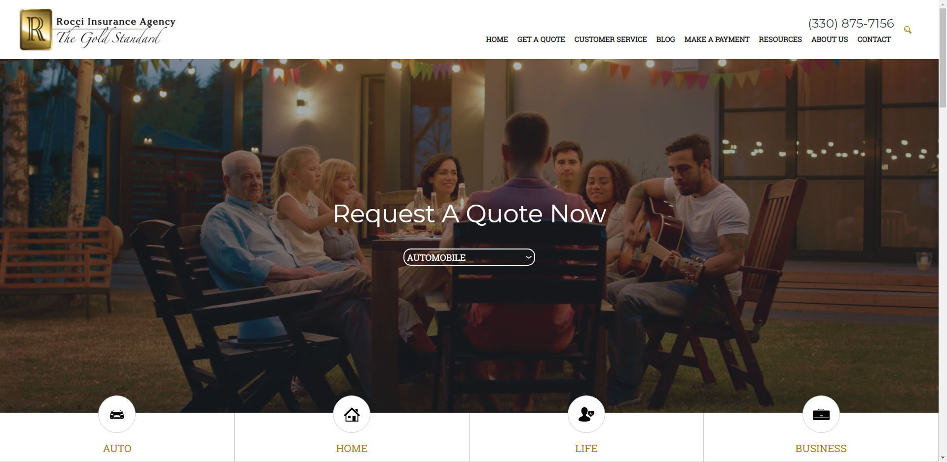 Rocci insurance Agency website