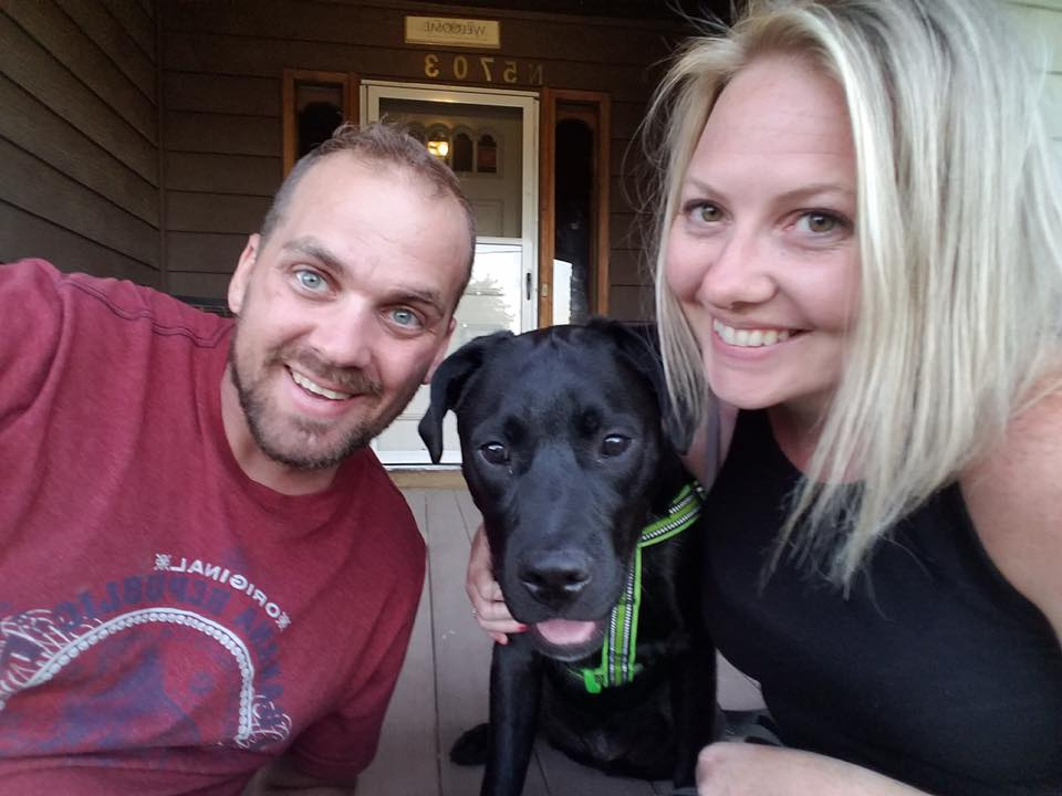 Lisa LeBlanc and her husband Aaron and their dog Major