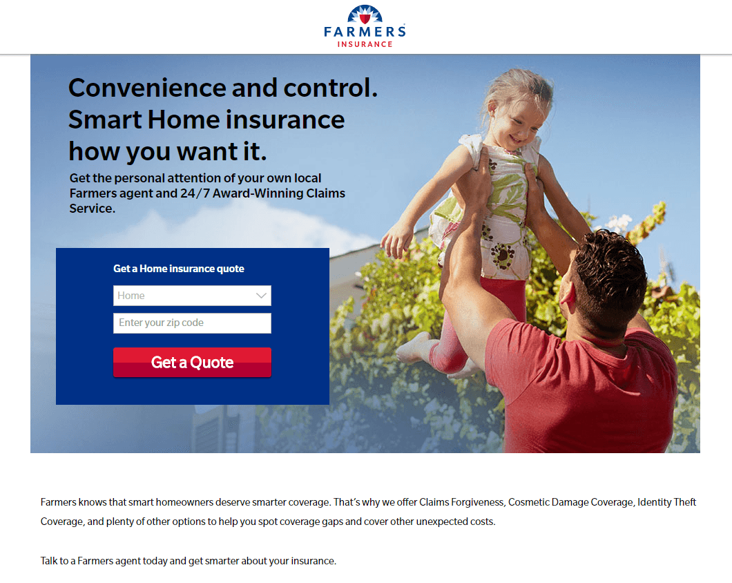 Farmers Insurance landing page example