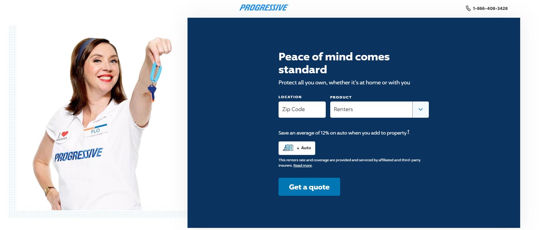 Progressive Insurance Landing page example
