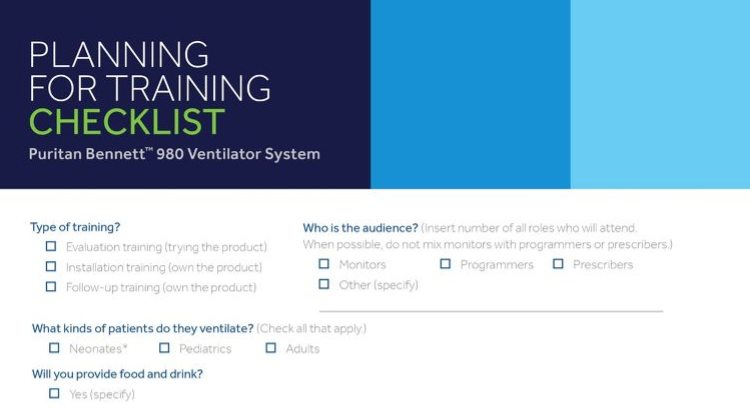 Training Checklist: Puritan Bennett™ 980 Ventilator System