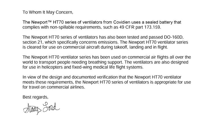 Air Travel Support Document: Newport™ HT70 Series