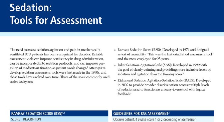 Summary of the Three Common Sedation Assessment Tools
