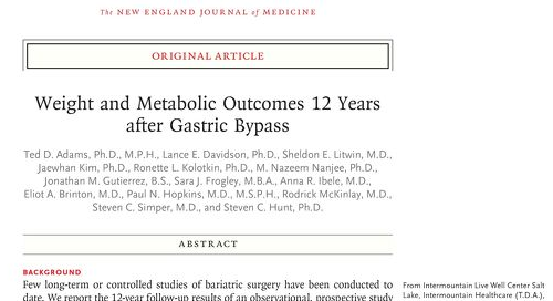 Weight and Metabolic Outcomes 12 Years after Gastric Bypass
