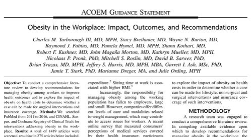 Obesity in the Workplace: Impact, Outcomes, and Recommendations