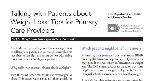 Talking with Patients about Weight Loss: Tips for Primary Care Providers