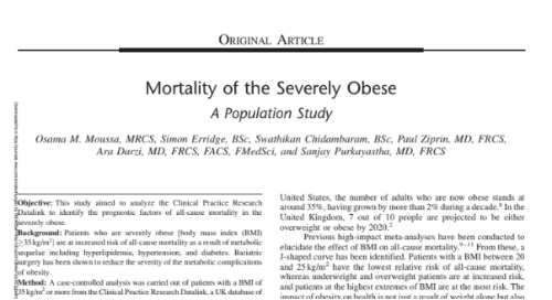 Mortality of the Severely Obese: A Population Study