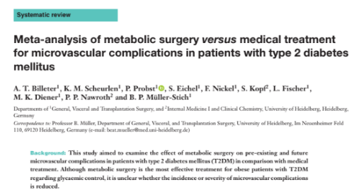 Meta-analysis of metabolic surgery versus medical treatment for microvascular complications in patients with type 2 diabetes mellitus