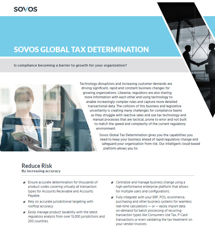 Sovos Global Tax Determination - Datasheet