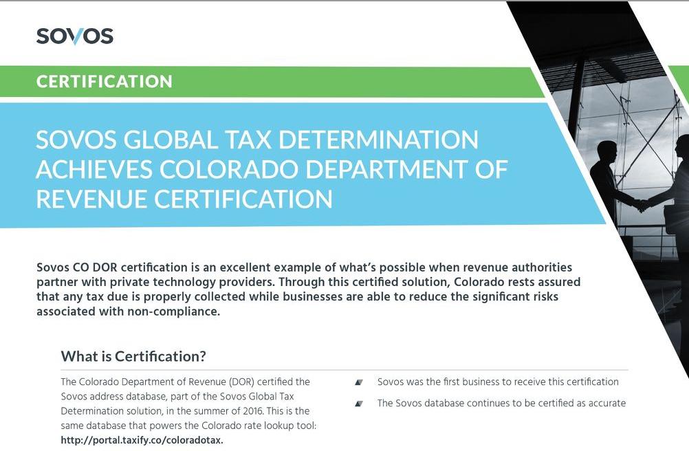 Sovos Global Tax Determination Achieves Colorado Department of Revenue Certification