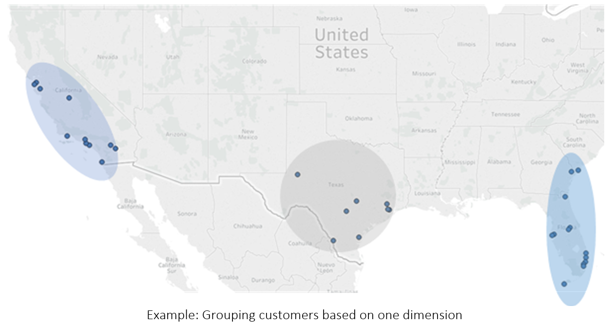 Map of southwestern United States showing clusters of customers based on one dimension in Texas and California