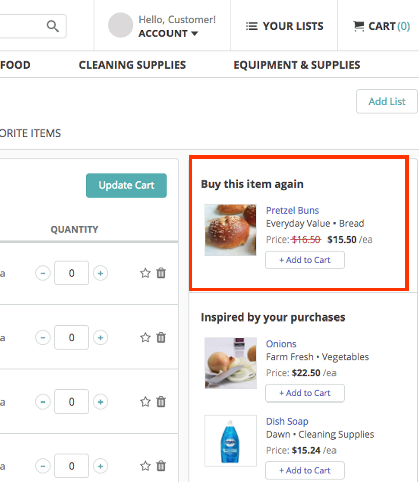 B2B ecommerce re-order recommendations