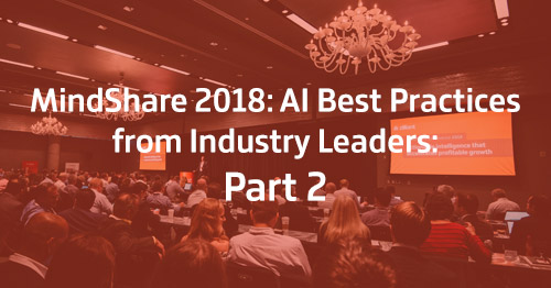 People in conference room for Mindshare 2018: Part 2 on AI software best practices.