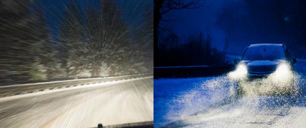 winter drive after headlight restoration