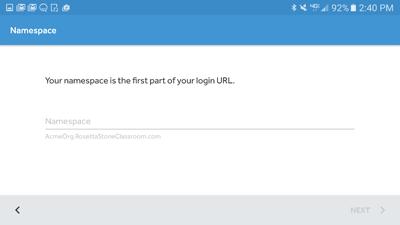 enter your Namespace