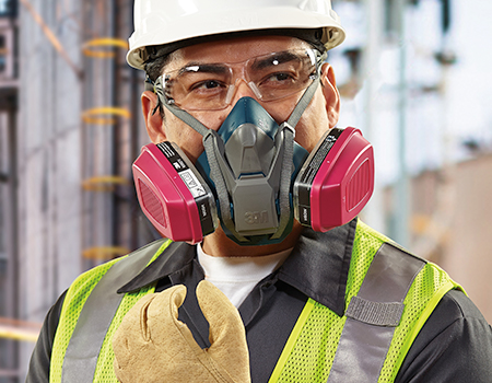 a worker wearing a mask