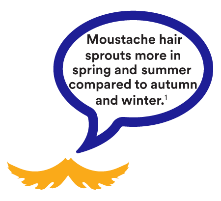 Moustache hair sprouts more in spring and summer compared to autumn and winter. (1)