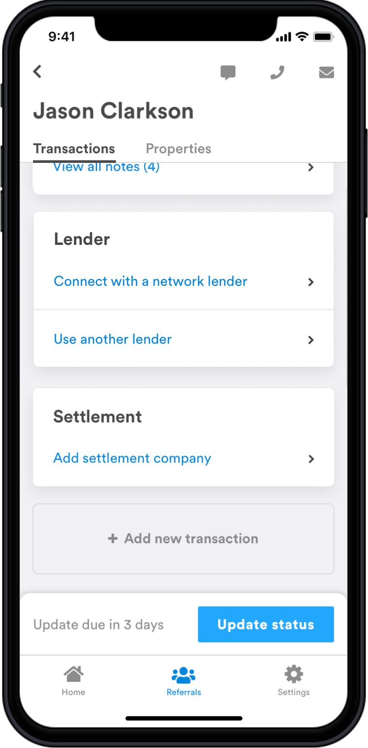 RM Profile Lender Request