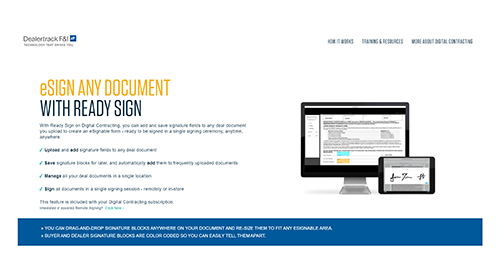Step by Step Page: Dealertrack Ready Sign
