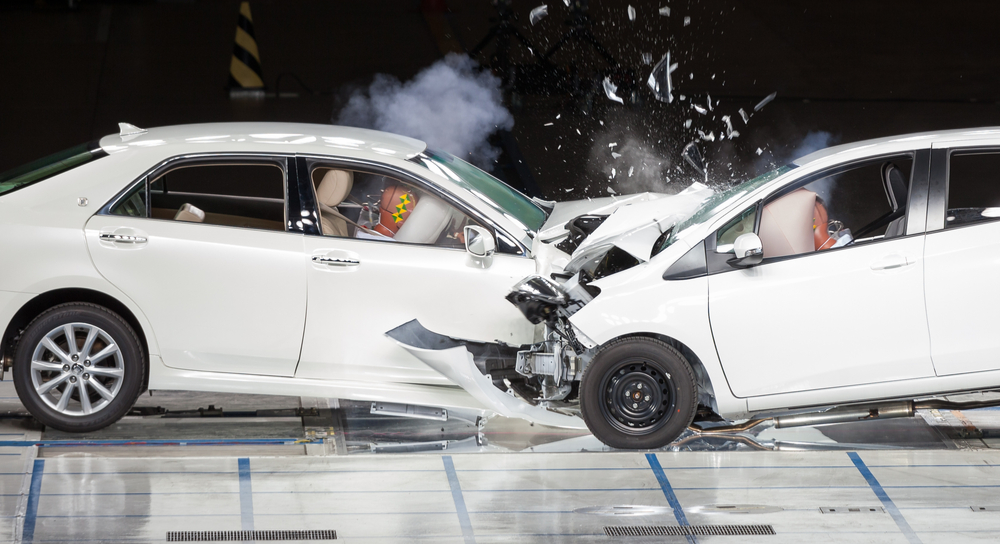 Front end collision during a crash test