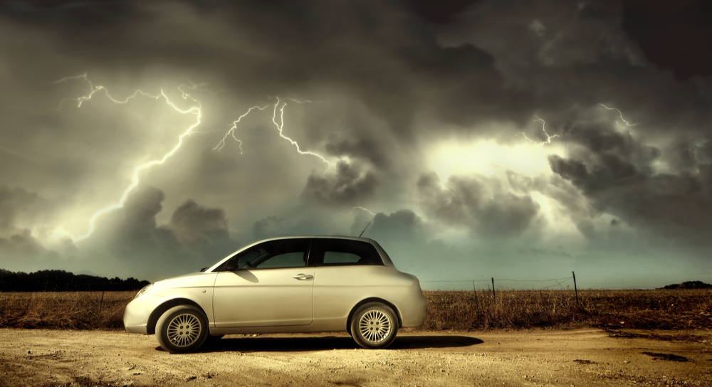 Car in lightning storm