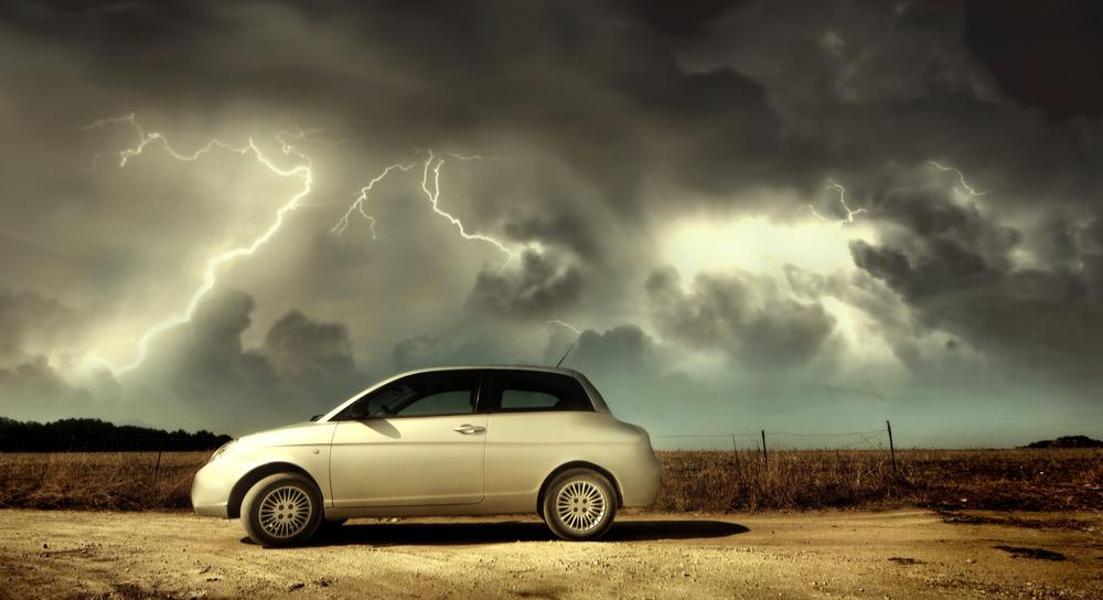 Car in lightning storm