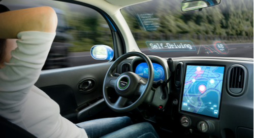Interior of a self-driving car