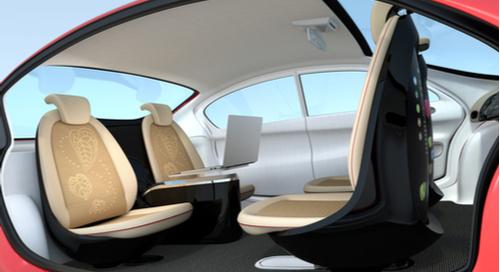 Interior of a self-driving car