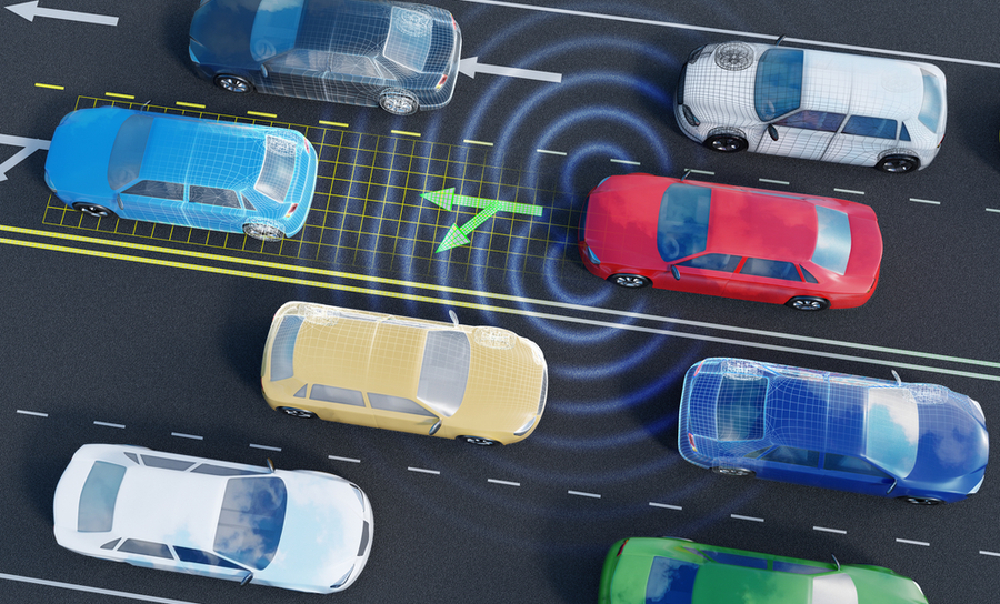 Self-driving cars in traffic