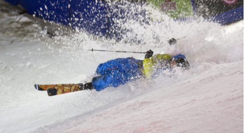 Skier wiping out