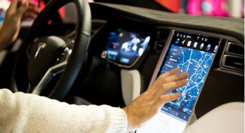 Interior of Tesla Model X car