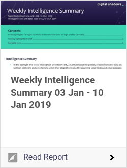 Weekly Intelligence Summary 03 Jan - 10 Jan 2019