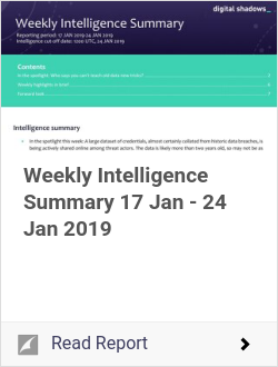 Weekly Intelligence Summary 17 Jan - 24 Jan 2019