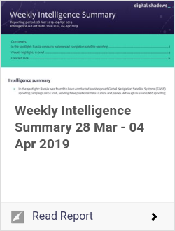 Weekly Intelligence Summary 28 Mar - 04 Apr 2019