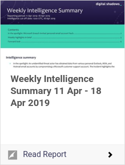 Weekly Intelligence Summary 11 Apr - 18 Apr 2019