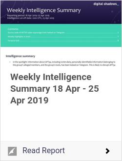 Weekly Intelligence Summary 18 Apr - 25 Apr 2019