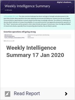 Weekly Intelligence Summary 17 Jan 2020