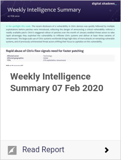 Weekly Intelligence Summary 07 Feb 2020